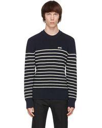 AMI ネイビー & ホワイト ストライプ Breton セーター - ブルー