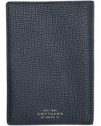 Smythson Navy Burlington Passport Holder - Blue