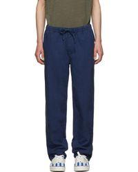 Onia Pantalon en lin bleu Carter