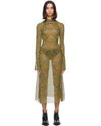CHARLOTTE KNOWLES Ssense Exclusive Green Serpent Dress