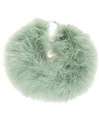 Dries Van Noten Green Feather Necklace