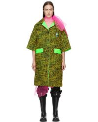 Prada - Green Tweed Short Sleeve Coat - Lyst