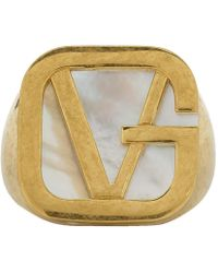 Versace - Gold Gv Pearl Ring - Lyst