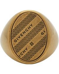 Givenchy Gold Chain Chevalier Ring - Metallic