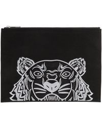 KENZO | Black Canvas A4 Tiger Pouch | Lyst