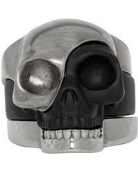 Alexander McQueen - Gunmetal And Black Divided Skull Ring Set - Lyst