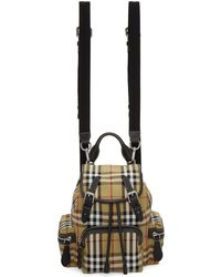 Burberry - Beige Small Heritage Check Backpack - Lyst