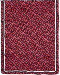 Fendi - Foulard en soie noir et rouge FF - Lyst