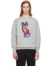 "Maison Kitsuné ""acide Fox"" Round Neck Cotton Sweatshirt - Gray"
