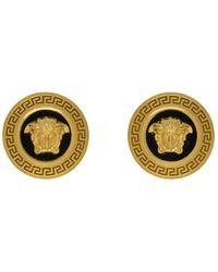 Versace - ブラック And ゴールド スモール メドゥーサ コイン ピアス - Lyst