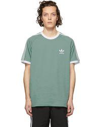 adidas Originals - Green 3-stripes T-shirt - Lyst