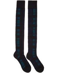 Sacai - Black Plaid Thigh-high Socks - Lyst