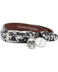 Alexander McQueen - Bracelet double-tour noir Allover Graffiti - Lyst