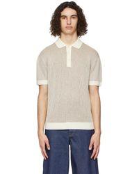 King & Tuckfield オフホワイト & ブラウン ポロシャツ