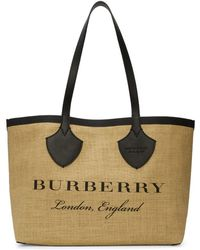 Burberry - Tan And Black Giant Raffia Tote - Lyst
