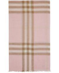 Burberry ピンク & ベージュ ガーゼ Giant Check スカーフ