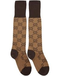 Gucci Brown And Beige GG Long Socks - Natural