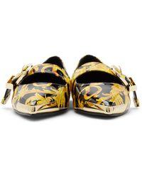Versace Jeans Couture ブラック & ゴールド Audrey バレリーナ フラット - マルチカラー