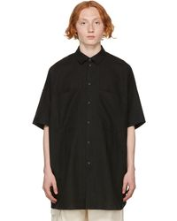 Jan Jan Van Essche Linen & Paper Short Sleeve Shirt - Black