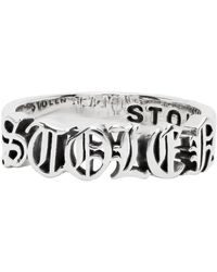 Stolen Girlfriends Club Silver Black Letter Ring - Metallic