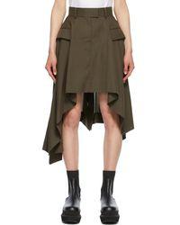 Sacai - カーキ Suiting ドレープ スカート - Lyst