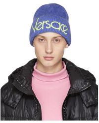 Versace - Blue Wool Logo Beanie - Lyst