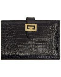 Givenchy Black Croc Gv3 Bifold Wallet