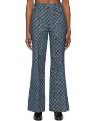 Gucci Jean en denim bleu Eco-Washed GG Jacquard