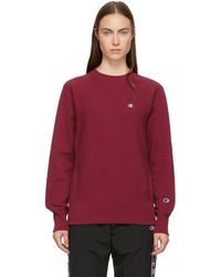 Champion - Burgundy Small Logo Sweatshirt - Lyst