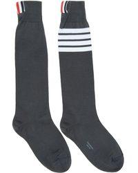 Thom Browne - Grey Ribbed Knee-high Four Bar Socks - Lyst