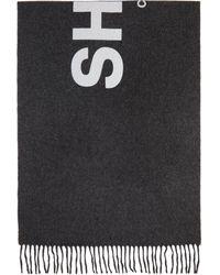 Comme des Garçons Foulard en laine à logo gris