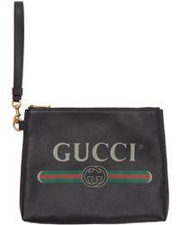 Gucci - ブラック ロゴ ポートフォリオ ポーチ - Lyst