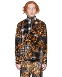 Versace Jeans Couture タータン Baroque ロング スリーブ ポロシャツ - ブラック