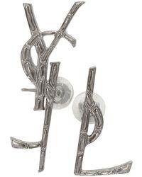 Saint Laurent - Silver Deconstructed Monogram Opyum Earrings - Lyst