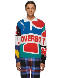 CHARLES JEFFREY LOVERBOY Multicolour Flag Rugby Polo - Blue