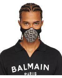 Balmain ブラック & オフホワイト モノグラム フェイス マスク