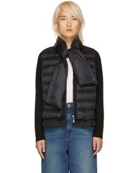 Moncler - Black Knit And Down Scarf Jacket - Lyst