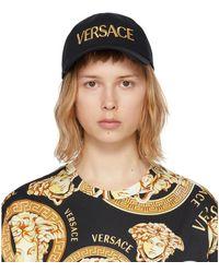Versace ブラック And ゴールド ロゴ キャップ