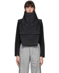 Y-3 Reversible Black Quilted Collar Scarf