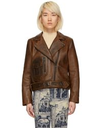 Acne Studios Brown Leather New Merlyn Jacket - Black