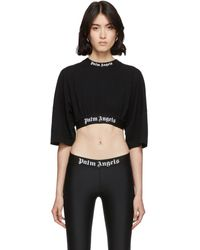 Palm Angels Black Cropped Logo Over T-shirt
