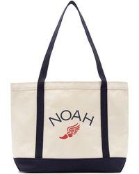 Noah オフホワイト And ネイビー ロゴ トート - ナチュラル