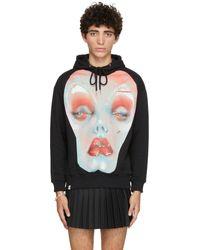 Charles Jeffrey LOVERBOY Black Organic Cotton Face Graphic Hoodie