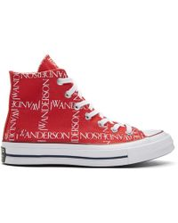 JW Anderson - Red Converse Edition Grid Logo Sneakers - Lyst