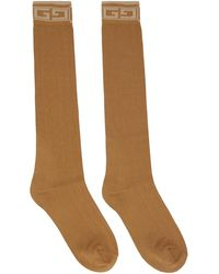 Gucci Brown Square G Socks