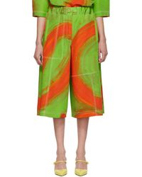 Loewe - Green And Orange Oversize Print Trousers - Lyst