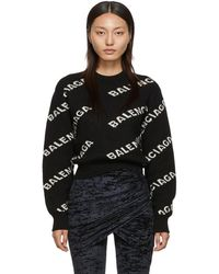 Balenciaga Black And Off-white Jacquard Logo Sweater