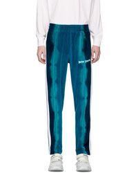 Palm Angels Pantalon de survetement en chenille bleu