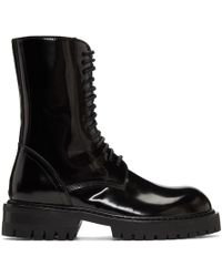 Ann Demeulemeester - Black Buckle Lace-up Boots - Lyst