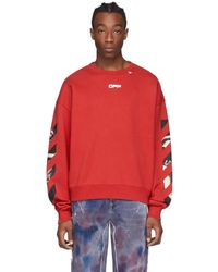 Off-White c/o Virgil Abloh - Red Caravaggio Square Arrows Slim Sweatshirt - Lyst